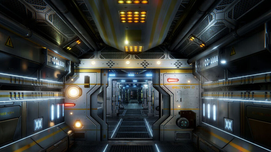 An image showing Sci Fi Corridors asset pack, created with Unity Engine.
